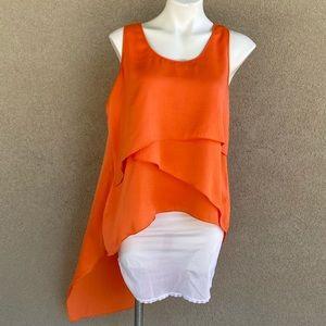 Tiered Drape Tunic Sleeveless Asymmetrical Blouse